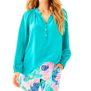 NWT Elsa Top In Tropical Turquoise